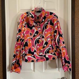 Jones New York Country Pink retro Print Jacket XL